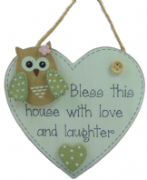 PASTEL OWL 'BLESS THIS HOUSE WITH LOVE AND...'  HEART SHAPE WOODEN HANGING SIGN